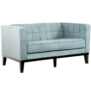 Roxbury Loveseat In Spa Blue Fabric