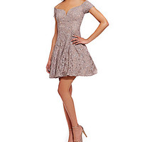 B. Darlin Off-the-Shoulder Sequin Lace Skater Dress - Taupe/Silver