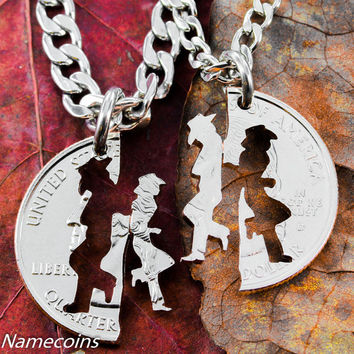 Cowgirl Jewerly, His and hers Cowboy necklaces, Matching set, hand cut coin
