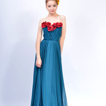 Alma silk Dress (red flower applique not included)