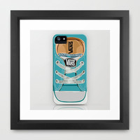 Cute vans converse all star Blue teal baby shoes Framed Art Print by Three Second