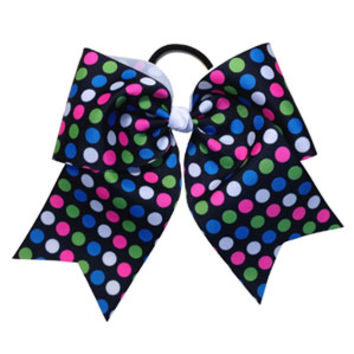 Black, Hot Pink, Lime Green and White Polka Dot Bow