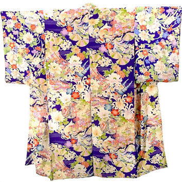 Kimono Silk Floral / Antique Purple Juban / Vintage 1920's Robe / Perfect Gift / Hand Painted