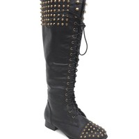 Edgy Studded & Spike Lace Up Knee High Boot In Black | Thirteen Vintage