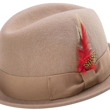Camel Color Men's Stingy Snap Brim Fedora Hat Hard Felt Center Crease With Feather Accent By Montique H-53