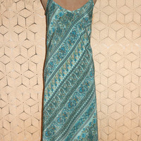 Summer Dress Silk Maxi Dress Spaghetti Strap Dress Boho Hippie Dress Bohemian Dress Paisley Aqua Green Teal Gap Medium Large Womens Clothing