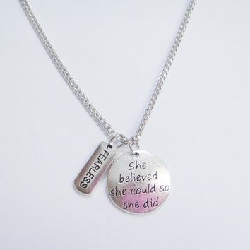 Inspirational Graduate Gift She believed she could so she did -Fearless Motivational Necklace 5pcs/lot