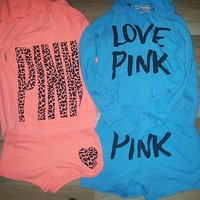 ♥ VICTORIAS SECRET PINK HOODIE N SHORT SETS SZ M ♥