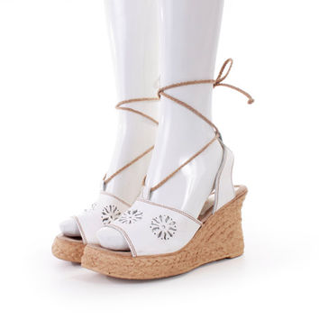 90s Vintage Sbicca Platform Sandals White Leather Cut Out Lace up Wedge Shoes Women Size US 9 UK 7 EUR 39/40