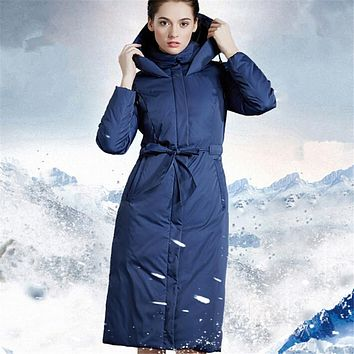 Goose down coat female 2017 new long over-the-knee thicken europe Lacing slim plus size hooded winter coat overcoat blue 3XL