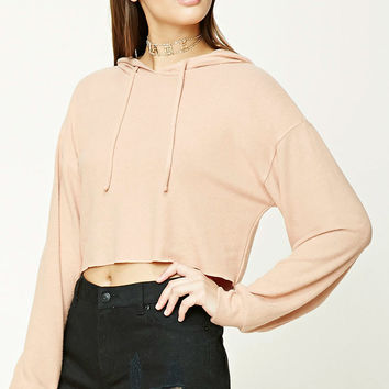 Fleece Raw-Cut Hooded Crop Top