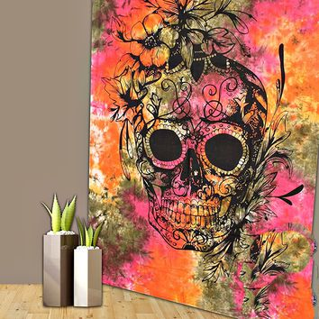 Psychedelic Floral Skull Fabric Wall Tapestry