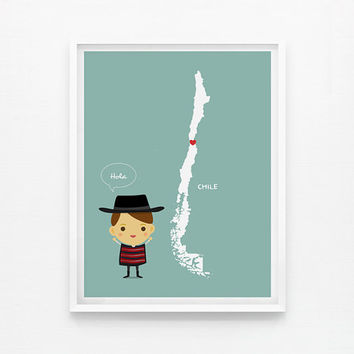 Personalized Custom Chile Map with children in traditional costumes 8 x 10 Art print