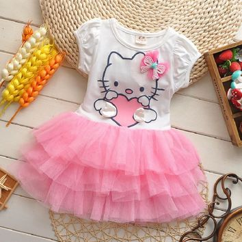 2016 Summer Baby Girls Dress Hello Kitty Cartoon KT Wings Tutu Dresses Children Princess Vestidos Roupas Infantis Menina Clothes