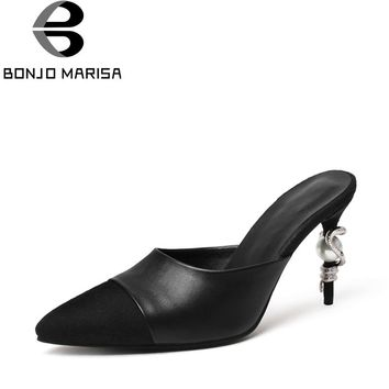 BONJOMARISA 2018 Summer Brand Fashion Black Genuine Leather Pointed Toe Mules slip-on Pumps Decoration High Heels Shoes Woman