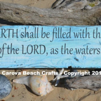 Ocean Scripture, Sea Bible Verse, Coastal, Beach, Nautical Decor, Sea, Wood Sign, Distressed, Rustic