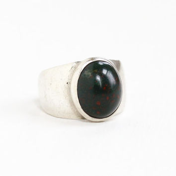 Vintage Sterling Silver Bloodstone Ring - Retro Size 4 1/4 Oval Dark Green Red Gem Statement Modernist Jewelry Handwrought Hallmarked CLS