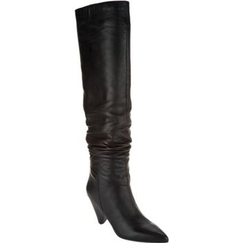 Marc Fisher Black Leather Paige Slouch Tall Shaft Boots