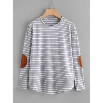 Elbow Patch Striped T-shirt Grey