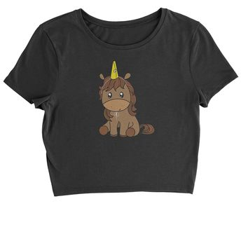 Unicorn in Cone Hat Cropped T-Shirt