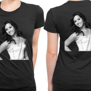 DCCKG72 Demi Lovato Grayscale Photo 2 Sided Womens T Shirt