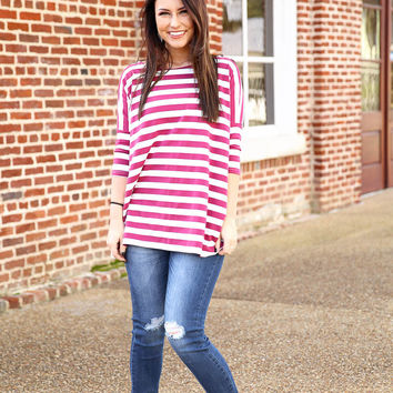 Piko Striped Top - wine