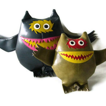 1960s Nauga Monster Pair - Rare Collectible Naugahyde Doll Set Mid Century