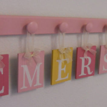 Pink Yellow Baby Name Wall Hanging Sign Set Includes 7 Wooden Peg Hangers Painted Pinks and Yellow Personalized Letters for EMERSON
