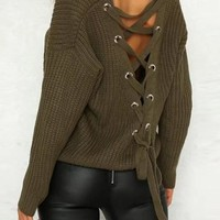 Army Green Patchwork Cut Out Drawstring Backless V-neck Long Sleeve Sweater