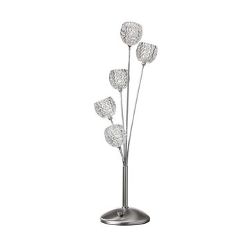 Dainolite Decorative 5 Light Crystal Table Lamp with Satin Chrome Finish