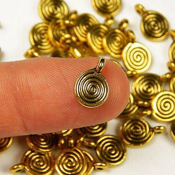 10 Pcs - 11.5x8mm Tiny Gold Tone Round Spiral Charms - Tiny Charms - Jewelry Supplies