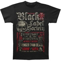 Black Label Society Men's  HT Motto Collage Tee T-shirt Black