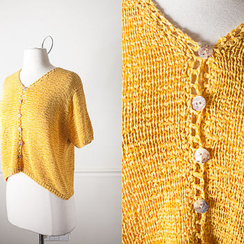 1980s Mustard Yellow Sweater / Vintage Oversized 80s Sweater / Goldenrod Yellow Cardigan Sweater / 80s Yellow Top Classic Minimalist Fashion
