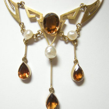 Antique Art Nouveau 14k citrine & pearl necklace