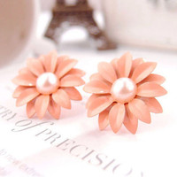 PINK DAISY FLOWER EARRINGS STUDS