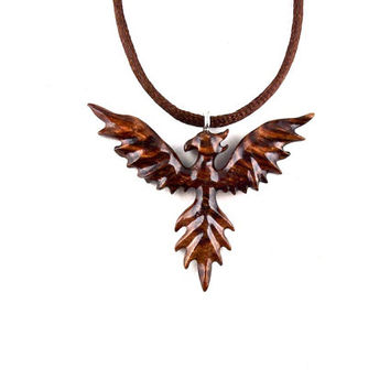 Phoenix Pendant, Phoenix Necklace, Phoenix Jewelry, Firebird Necklace, Firebird Pendant, Carved Wood Phoenix Necklace Pendant, Wood Jewelry