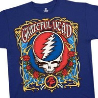 Grateful Dead T-shirt, Steal Your Roses Concert T-Shirt, Vintage Super Premium Quality Band Shirt, Medium, Blue