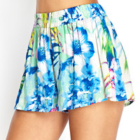 Tropical Print Flowy Shorts