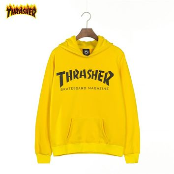 THRASHER Tide brand couple loose loose hooded hoodie Yellow