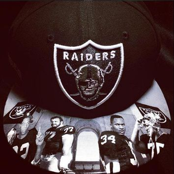 Oakland Raiders authentic New Era hat snapback or fitted hat with Legends custom