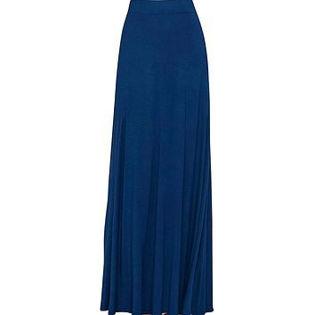 Women's Navy Blue Maxi Skirt With Fringes