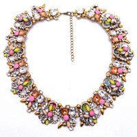 BIANCA - Flower Crystal Collar Statement Necklace