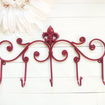 Stocking Holder / Gift Idea / Christmas Red / Metal Wall Hanger / Wall Hook / Jewelry Rack / Towel Rack / Coat Hook / Autumn Decor / Fall