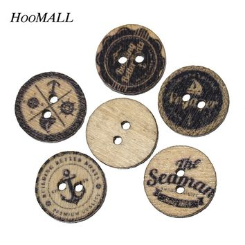 Hoomall Brand Natural Wooden Buttons Sewing 15mm 200PCs Nautical Buttons For Clothing Scrapbooking Crafts DIY Sewing Accessories
