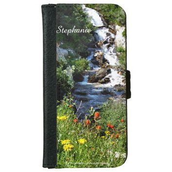 iPhone 6 Wallet Case, Waterfalls and Wildflowers