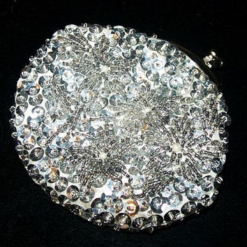 "Silver Bead Sequined Coin Purse Bag White Lining Made Hong Kong 4"" Vintage 1950s"