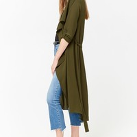 Draped Open-Front Duster Jacket