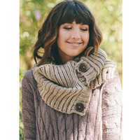 Amazing Chunky Knit Button Infinity Scarf