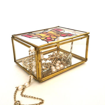 Vintage Glass Metal Box - Rectangular - 1970s Terrarium/Jewelry Box - Stained Glass - Stained Glass Butterfly - Taiwan