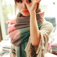 Wool Winter Plaid Shawls and Scarves
